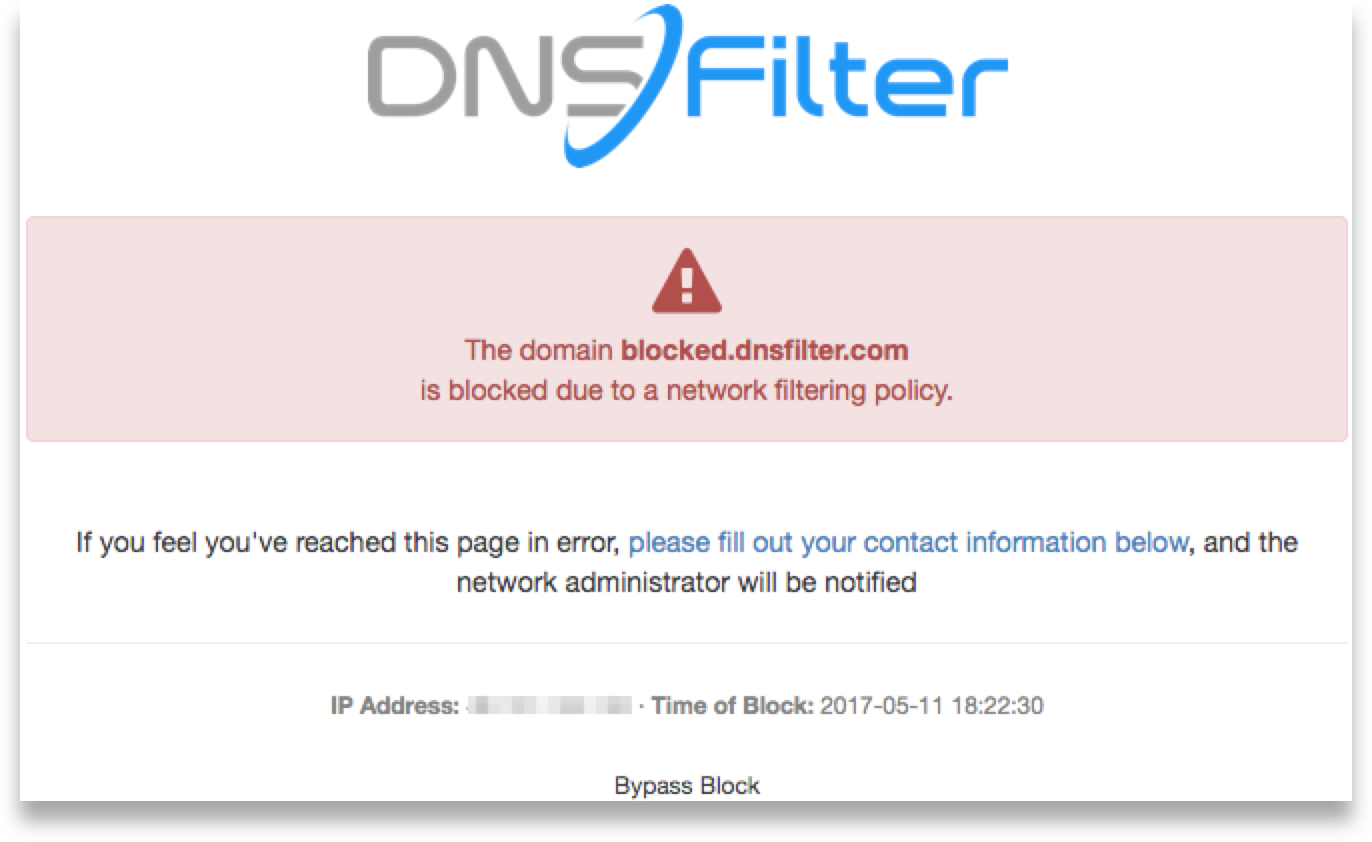 An example of a blocked webpage from DNSFilter