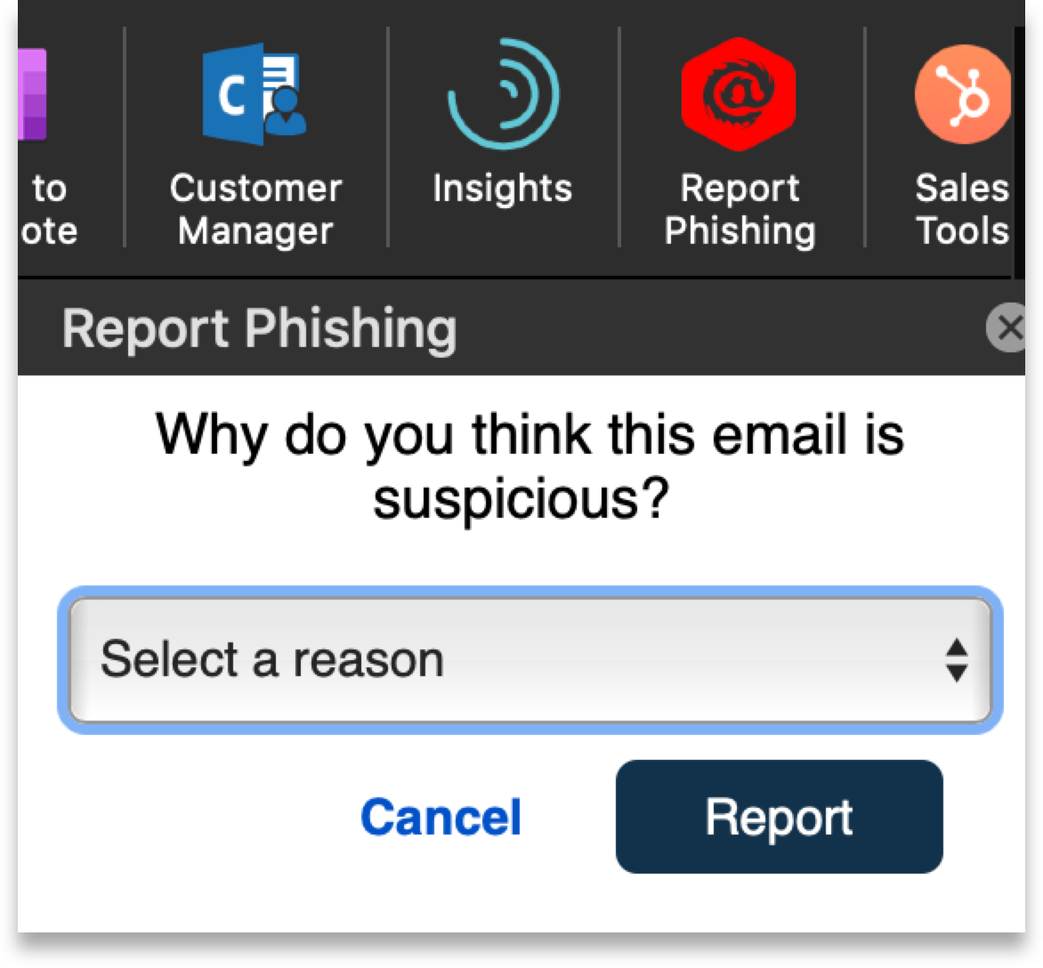 Ironscales mailbox tool to report phishing emails.
