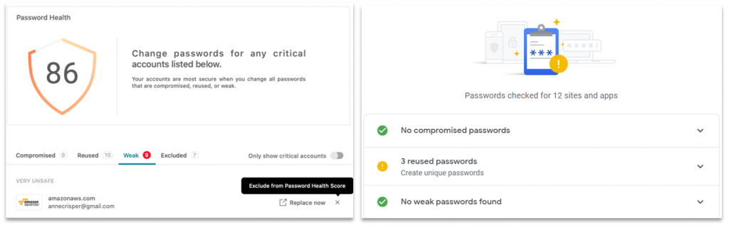 Screenshots showing the functionality to check the health of your passwords in Dashlane and Google Password Manager