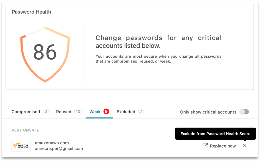Screenshot showing Dashlane's Password Health tool