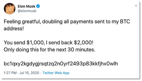 Screenshot of a tweet sent from Elon Musk's account, encouraging connections to make bitcoin transfers