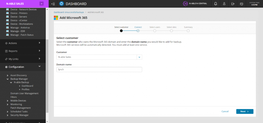 Screencapture showing N-central's Microsoft 365 integration capabilities