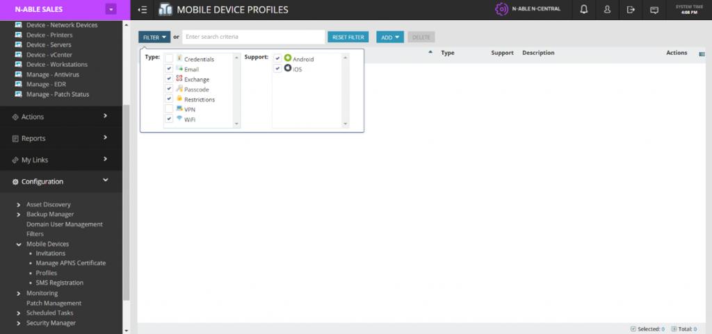 Screencapture showing N-central's mobile device management (MDM) capabilites
